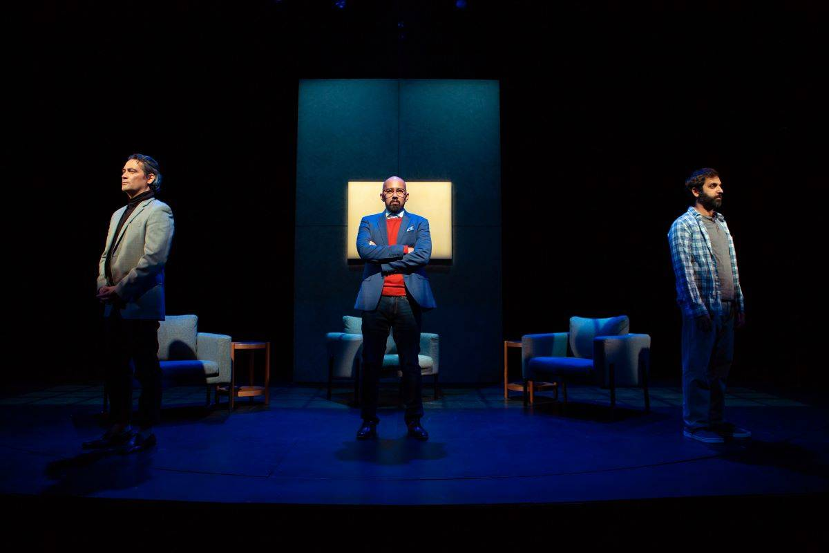 "From left, Johnny Moreno, Jomar Tagatac and Bobak Bakhtiari appear in San Francisco Playhouse's riveting production of ""Art."" (Courtesy SF Playhouse)"