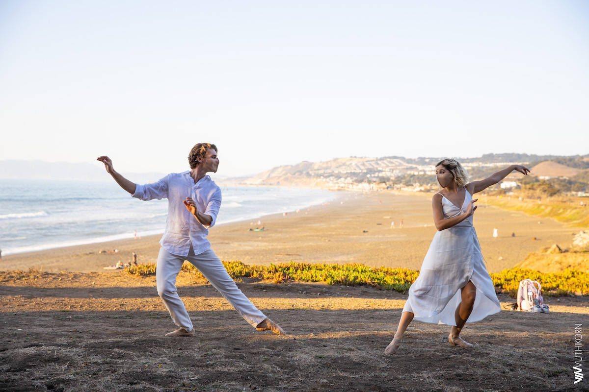Peninsula Ballet Theatre's Robert Burns Lowman and Chloé Watson perform while incorporating COVID safety protocols at Mori Point in Pacifica. (Courtesy Vin Eiamvuthikom)