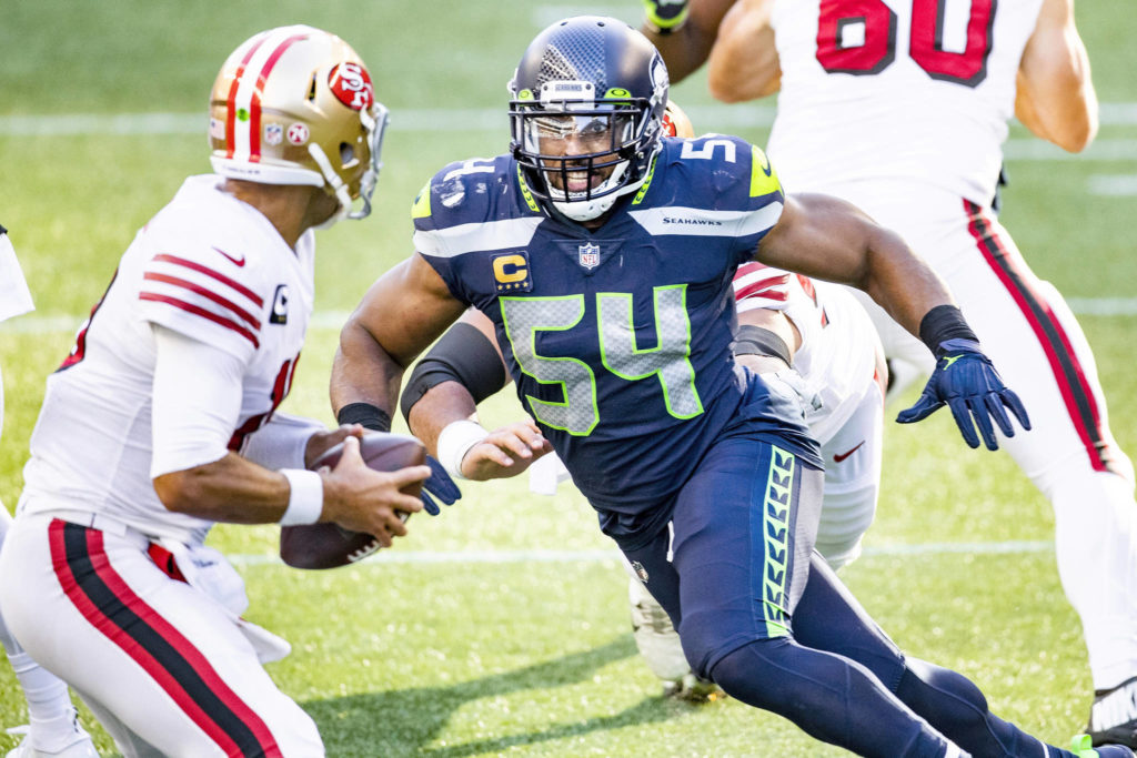 Seattle Seahawks middle linebacker Bobby Wagner sacks San Francisco 49ers quarterback Jimmy Garoppolo for a loss in the second quarter on Sunday, Nov. 1, 2020 at CenturyLink Field in Seattle, Washington. (Bettina Hansen/The Seattle Times/TNS)