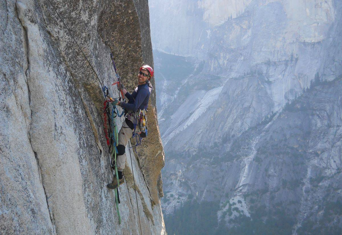Matt Johanson retrieves gear from a section of the climb of the South Face of Washington Column in Yosemite. (Courtesy photo)