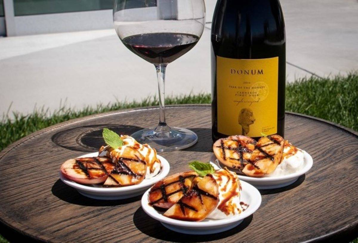 Donum Estate's pinot noir pairs delightfully with bites by chef Aaron LeRoi. (Courtesy Donum Estate)