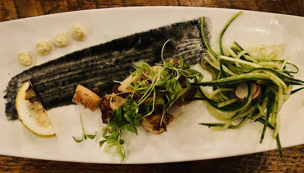 Seared Spanish octopus with squid ink vinaigrette at The Gathering Table was outstanding. (Julie L. Kessler/Special to S.F. Examiner)