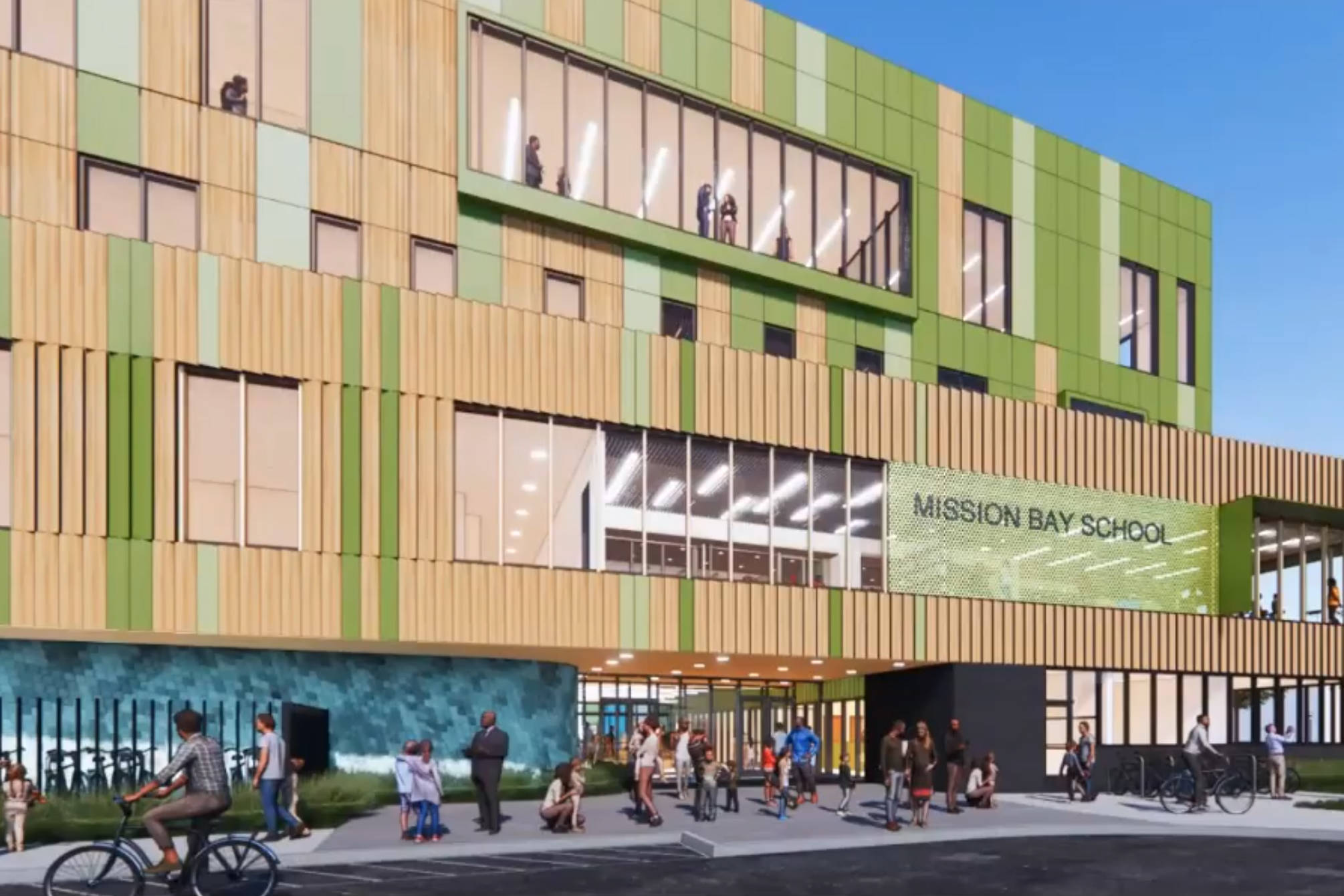 Renderings of the main entrance to upcoming Mission Bay elementary school on Owens Street. (Courtesy Gould Evans)
