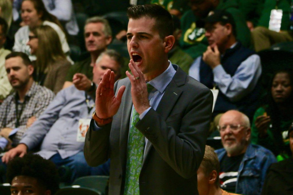 University of San Francisco head coach Todd Golden coaches his team on defense during a 2019 gameat War Memorial Gymnasium on the campus of the University of San Francisco. (Ryan Gorcey / S.F. Examiner)