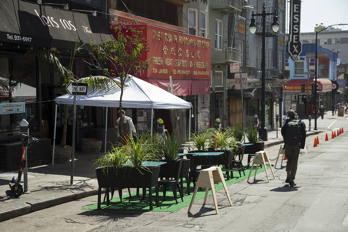 Under stay-at-home orders effective today in San Francisco, outdoor dining is not allowed, and there are new limits regarding the number of people that can be indoors at essential businesses. <ins> (Kevin N. Hume/S.F. Examiner)</ins>