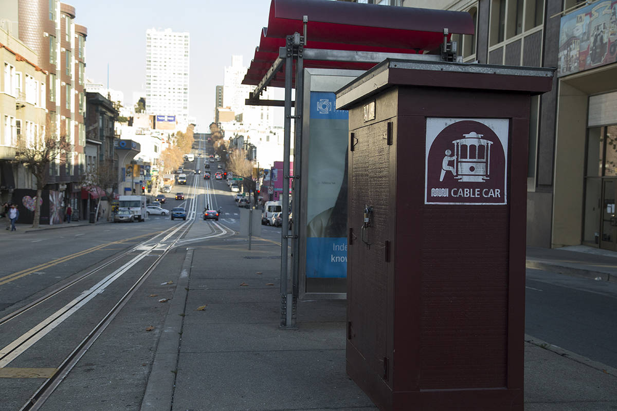 The end of the California Cable Car line at California Street and Van Ness Avenue on Thursday, Dec. 10, 2020. (Kevin N. Hume/S.F. Examiner)
