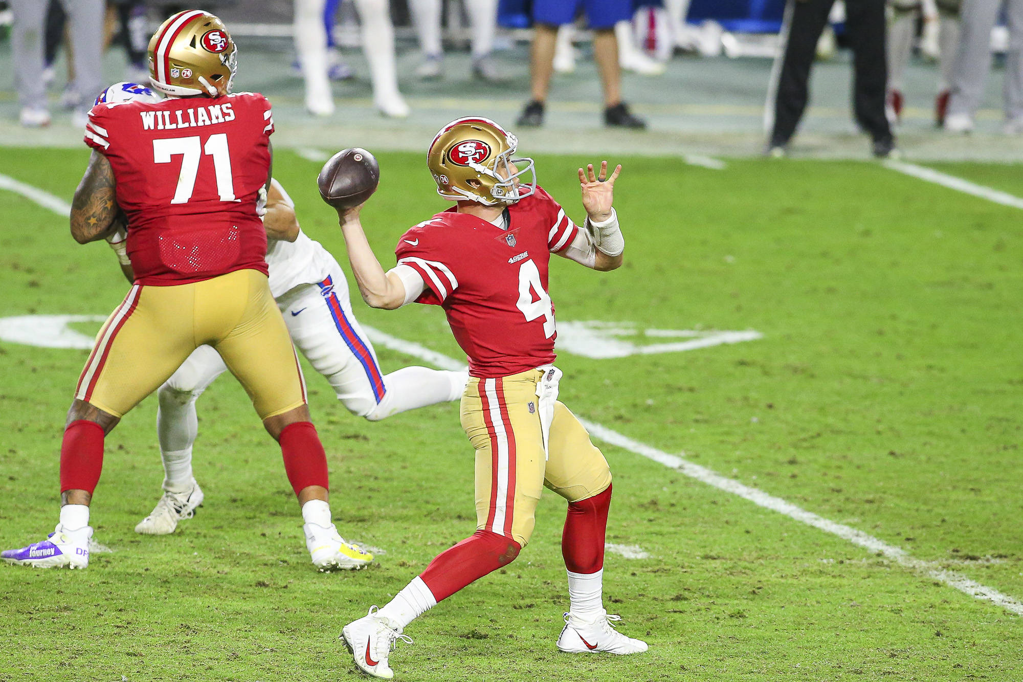 San Francisco 49ers quarterback Nick Mullens (4) during the 3rd quarter against the Buffalo Bills at State Farm Stadium on December 7, 2020 in Glendale, Arizona.(Chris Victorio | Special to the S.F. Examiner).