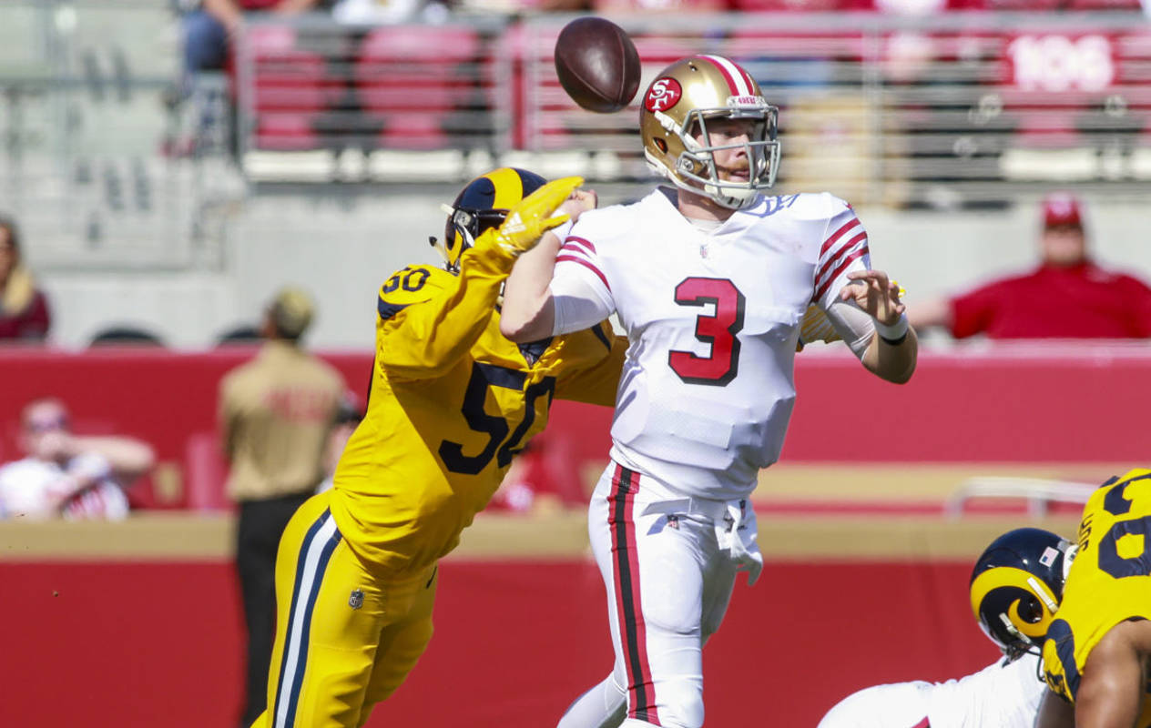 Quarterback C.J. Beathard (No. 3) of the San Francisco 49ers, shown in a 2018 game, will start for the San Francisco 49ers on Saturday.<ins> (Chris Victorio / Special to S.F. Examiner)</ins>