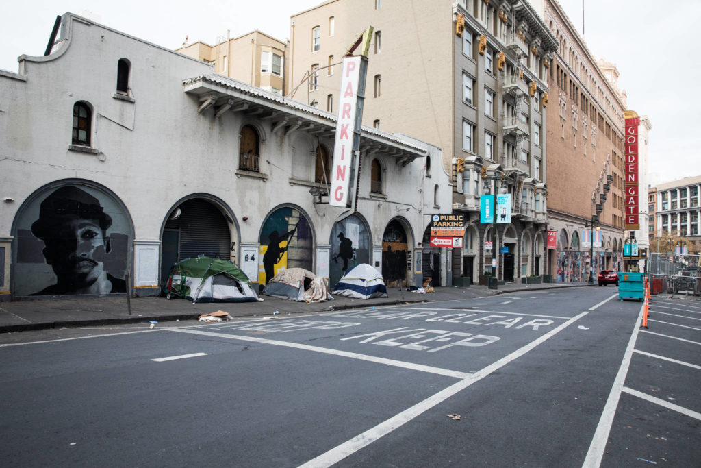 The Tenderloin has many residents who sleep overnight in tents. Here, a small encampment on Golden Gate Avenue on Wednesday afternoon, Dec. 16, 2020. (Photo by Ekevara Kitpowsong/S.F. Examiner)
