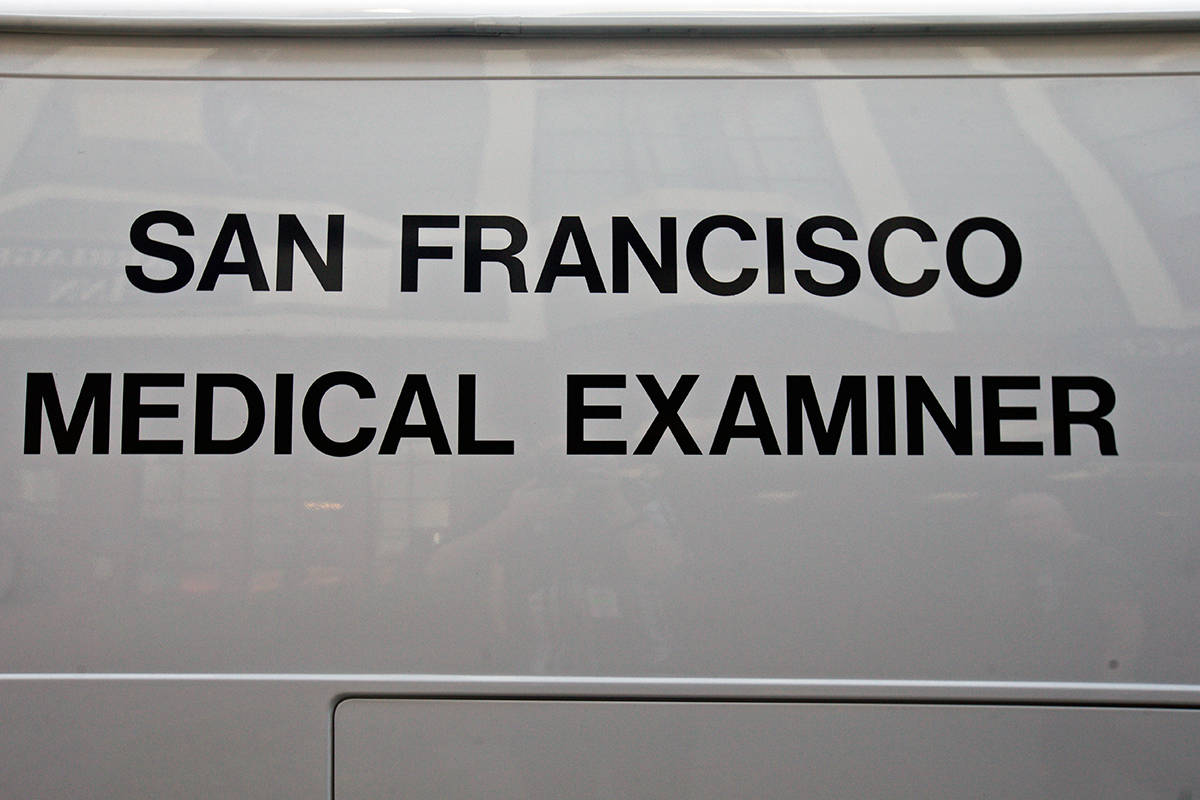 The Medical Examiner's Office van on Tuesday, April 23, 2019. (Kevin N. Hume/S.F. Examiner)