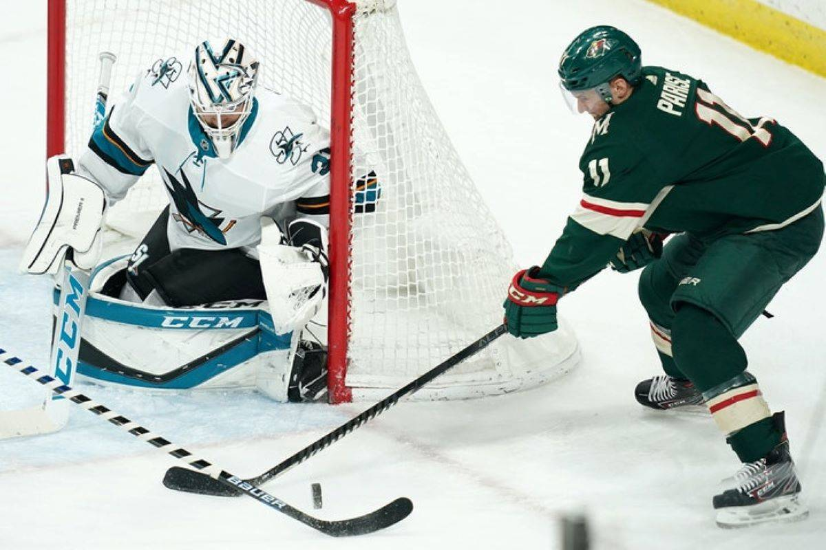 San Jose Sharks (pictured Feb. 15, 2020 vs. Minnesota Wild at Xcel Energy Center) open the season on Monday against the St. Louis Blues in St. Louis. (Tribune News Service archive)