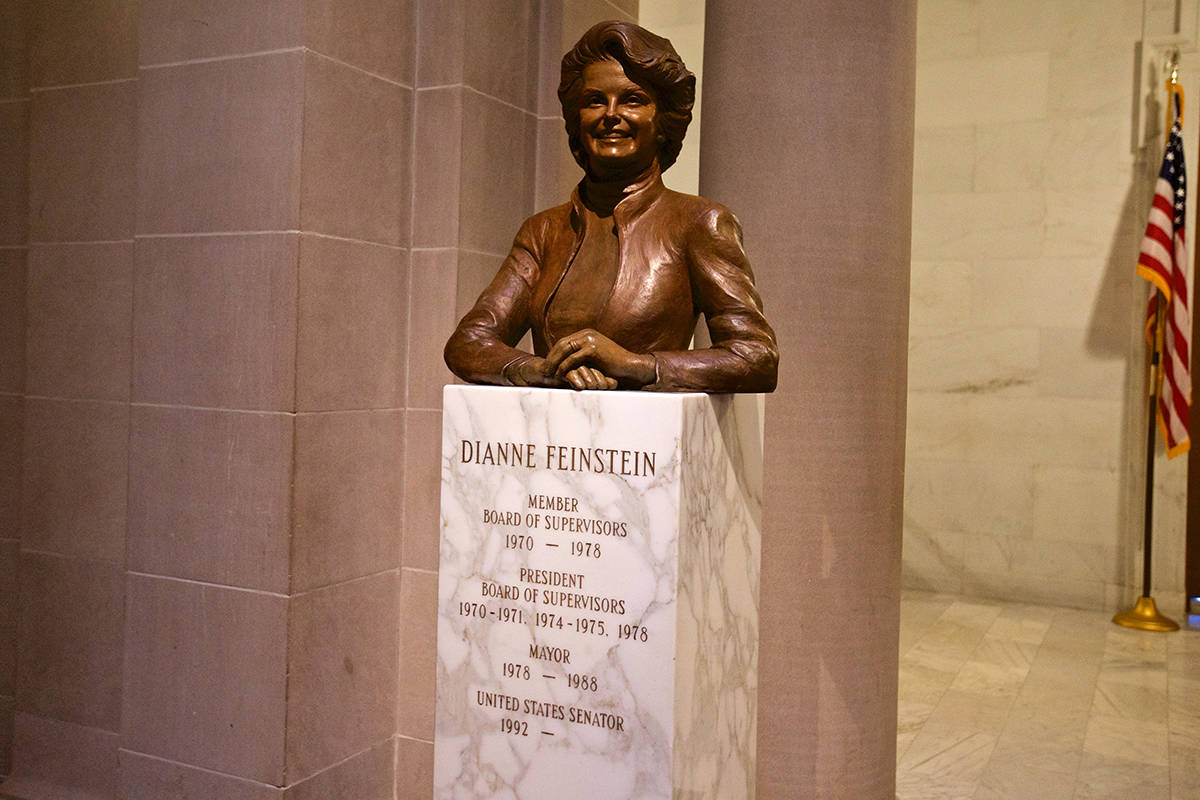 A bust of Dianne Feinstein, a U.S. Senator and former San Francisco mayor, stands near the Mayor's Office inside City Hall. (Kevin N. Hume/S.F. Examiner)