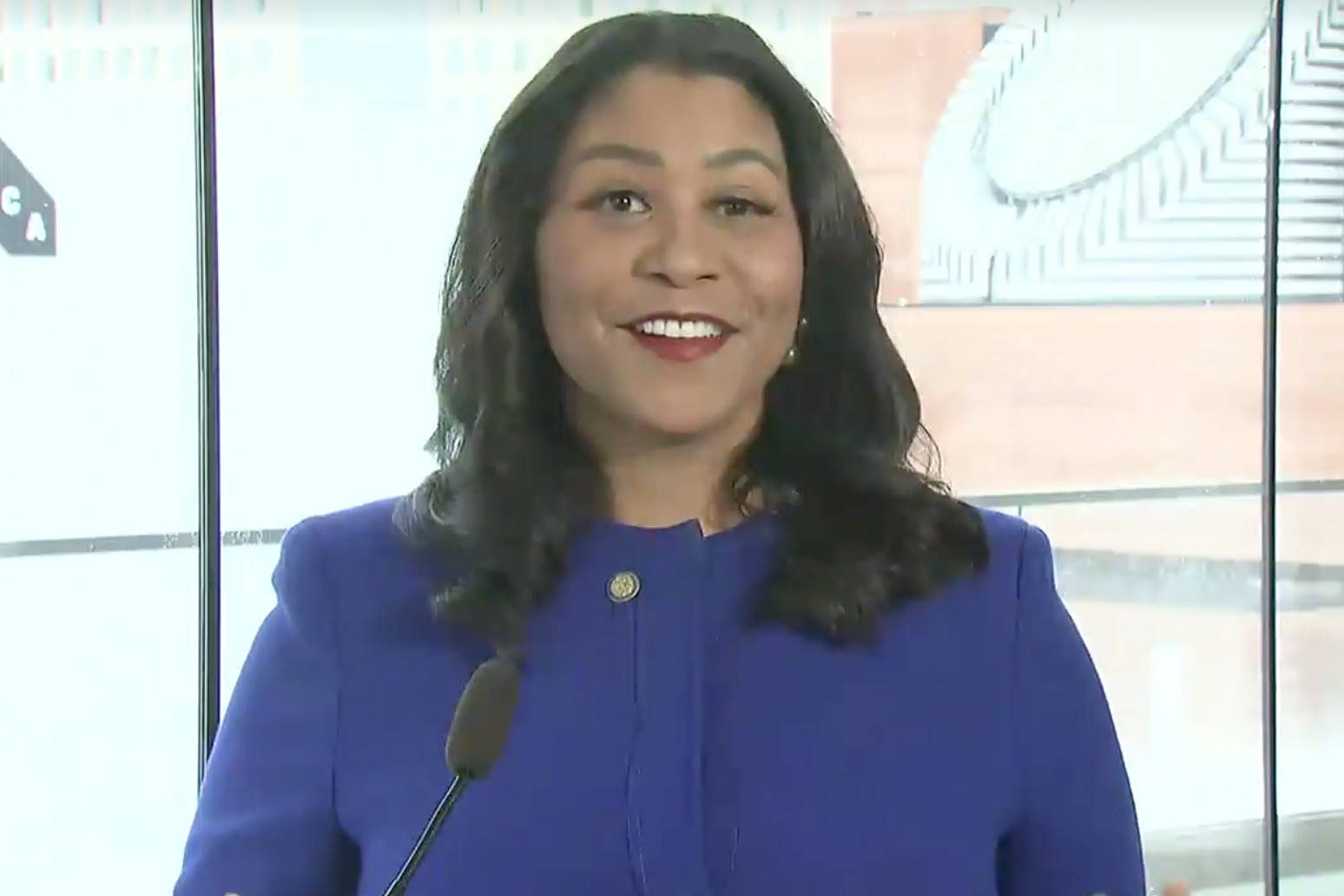 Mayor London Breed delivered an upbeat State of the City address virtually on Thursday Jan. 28, 2021. (Examiner screenshot)