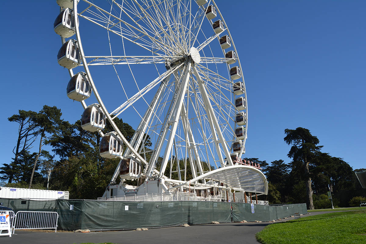 The Ferris wheel at the Golden Gate Park Music Concourse, which has spent much of the past year shut down due to the pandemic, may get an extended stay. (Samantha Laurey/Special to S.F Examiner)