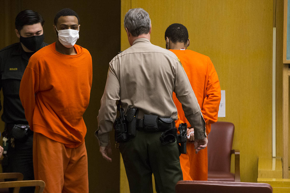 Tyjone Flournoy, left, and Lawrence Thomas made their first appearance in court Tuesday in the death of detective Jack Palladino. (Kevin N. Hume/S.F. Examiner)