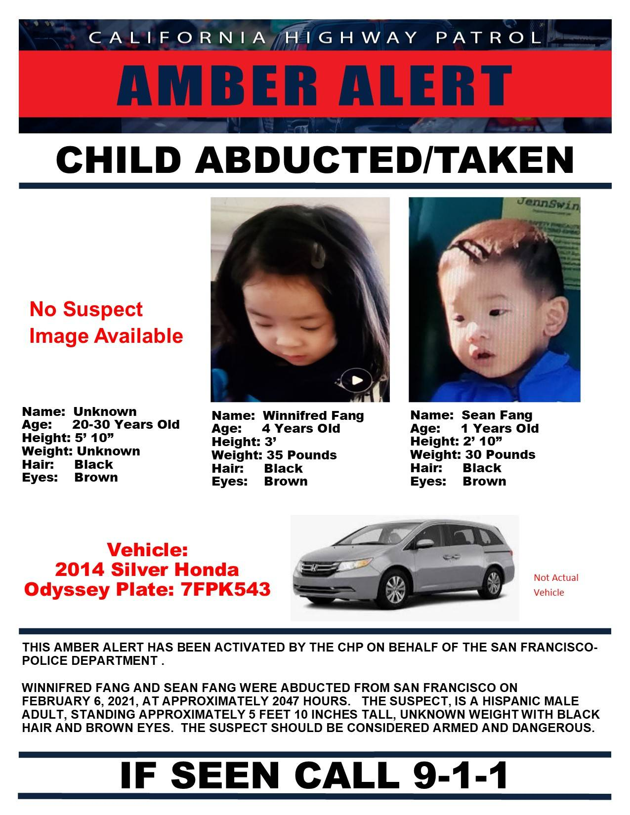 An Amber Alert was issued after Sean and Winnifred Fang were abducted while sitting in their father's minivan Saturday night. The two were later safely recovered. (Courtesy photo)