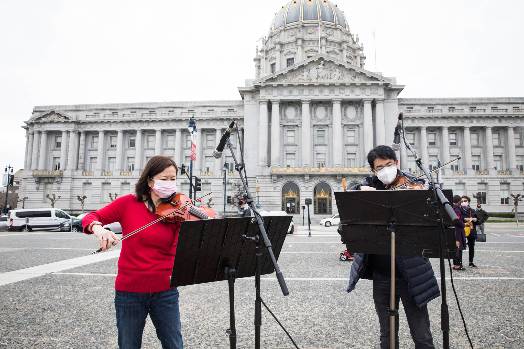 Musicians play during the Love Our People, Heal Our Communities SF event. (Photo by Ekevara Kitpowsong/ Special to S.F. Examiner)