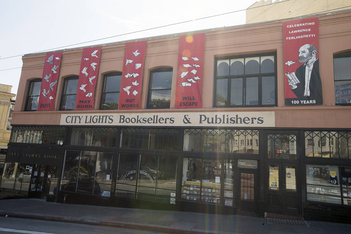 City Lights Bookstore in North Beach on Friday, April 10, 2020. (Kevin N. Hume/S.F. Examiner)