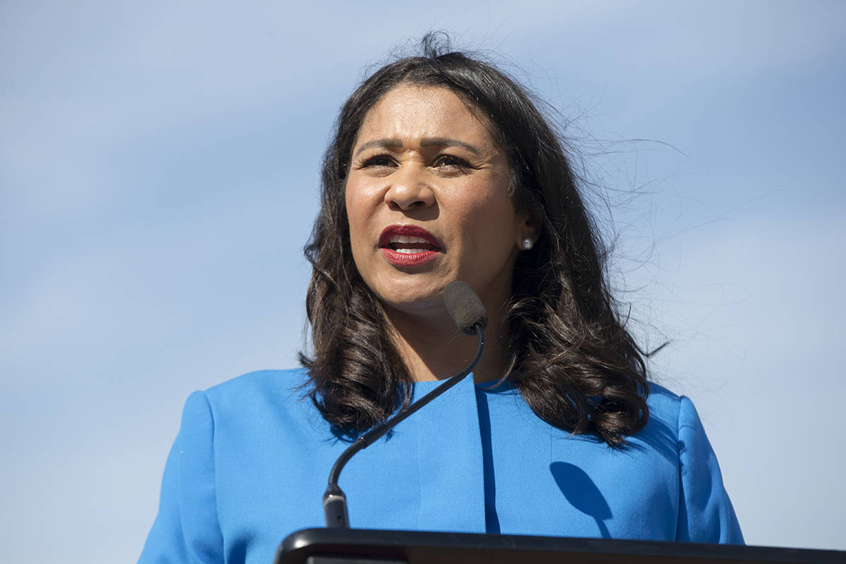 Mayor London Breed announced The City's return to the red tier for COVID-19 precautions at Pier 39 on Tuesday<ins>, March 2, 2021</ins>. <ins>(Kevin N. Hume/S.F. Examiner)</ins>