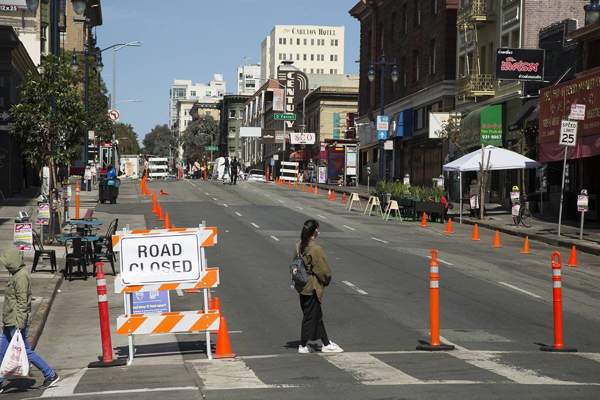 Tenderloin merchants worked together to close part of Larkin Street to allow for outdoor dining on Friday, Sept. 25, 2020. City officials were slow to implement Slow Streets and other programs in the Tenderloin, citing issuse including the number of stop lights in the densely populated neighborhood. (Kevin N. Hume/S.F. Examiner)