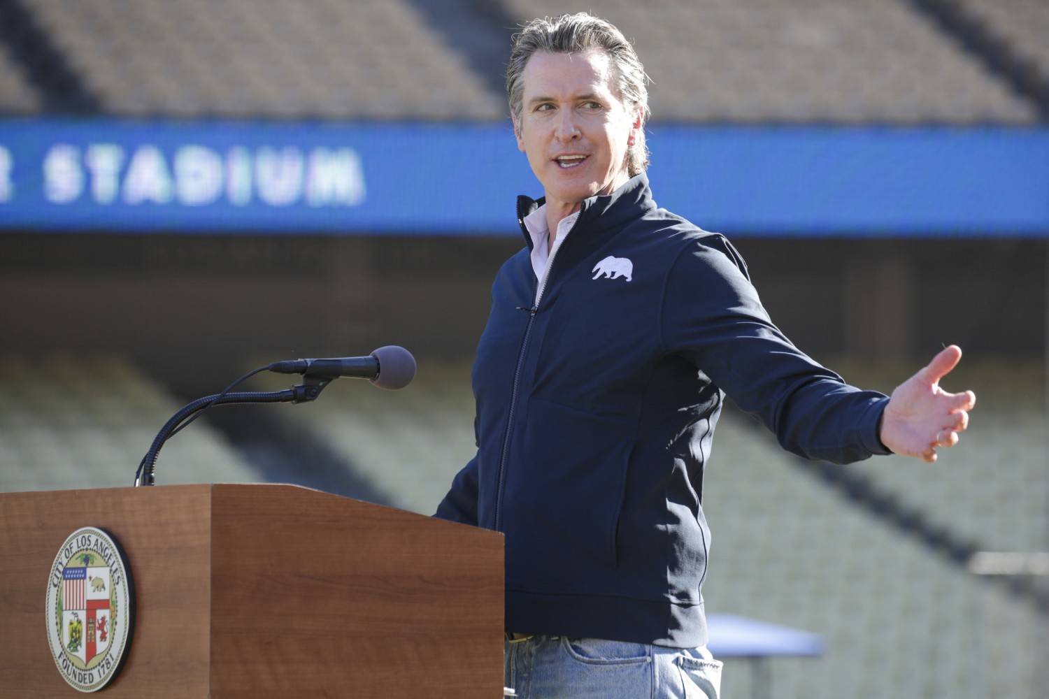 California Gov. Gavin Newsom will deliver the State of the State at Dodger Stadium Tuesday evening. (Irfan Khan/Los Angeles Times/TNS)