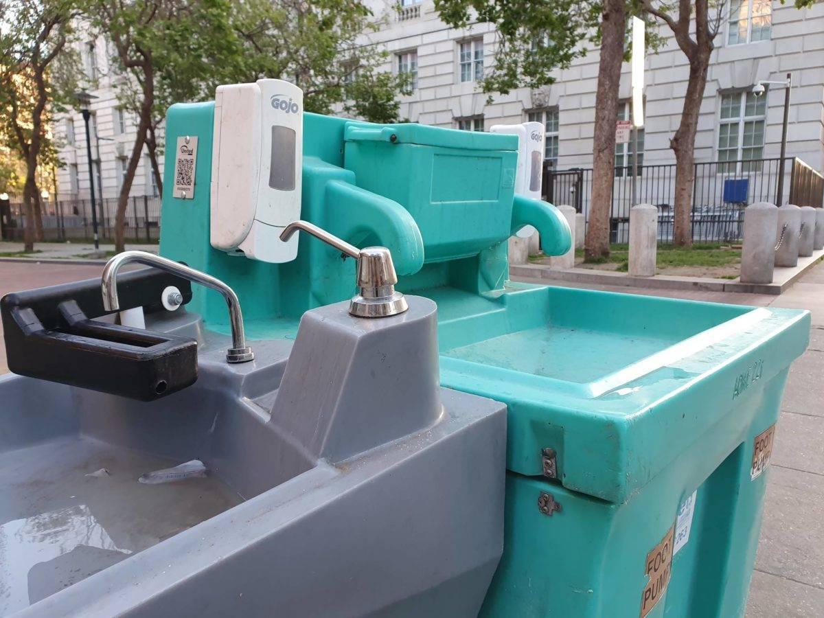 After the pandemic hit, San Francisco installed handwashing stations intended to serve the homeless, but advocates say more permanent water stations are needed, especially in the Tenderloin.  David Mamaril  Horowitz/Special to S.F. Examiner