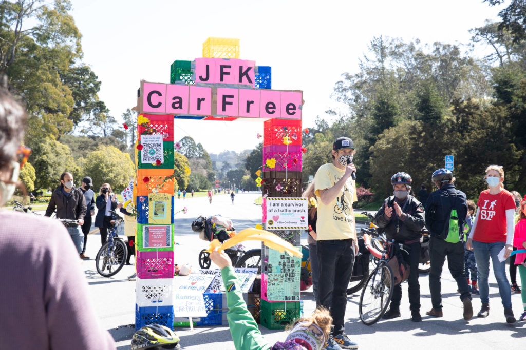 Matt Brezina, cofounder of People Protected, speaks at a rally at JFK Dr. And 8th St. in Golden Gate Park on Saturday March 20, 2021, in support of calls to keep the road through the park car free. (Photo by Sebastian Miño-Bucheli / Special to the San Francisco Examiner)