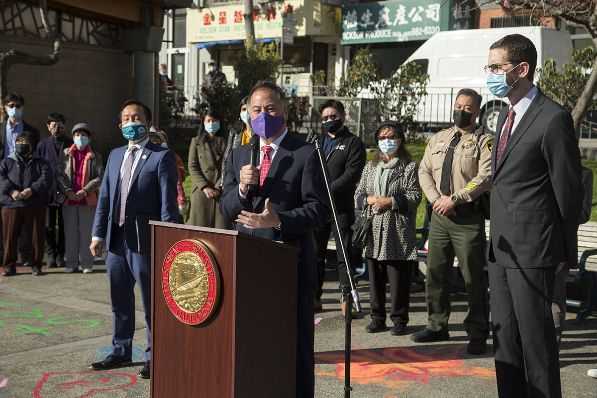 Assemblymember Phil Ting speaks alongside Assemblymember David Chiu and state Sen. Scott Wiener at a news conference in support of the Asian American Pacific Islander community at Portsmouth Square in Chinatown on Monday, March 22, 2021. (Kevin N. Hume/S.F. Examiner)