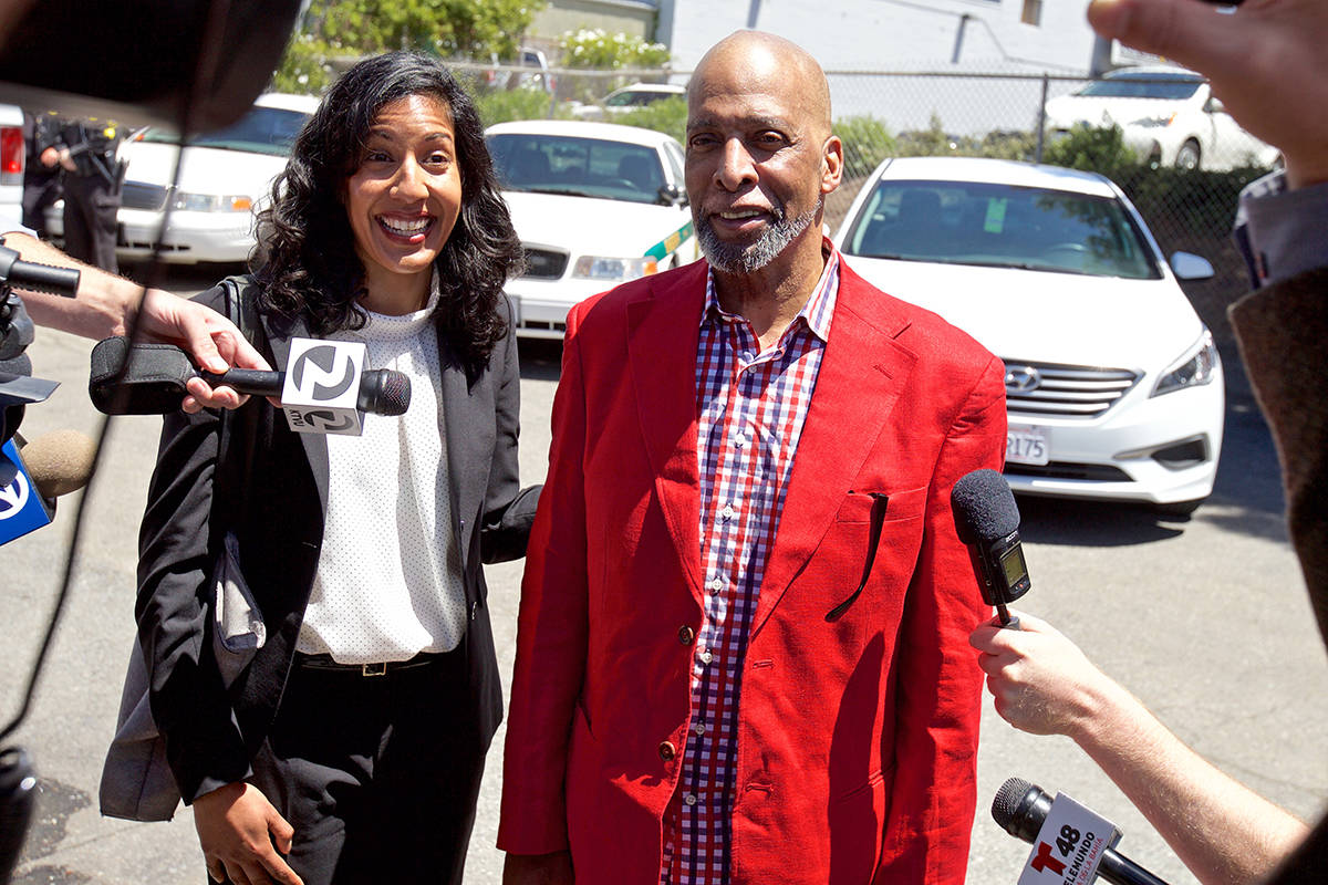 Kenneth Humphrey smiles while speaking with members of the media alongside his attorney Anita Nabha following his release on bail in 2018. Humphreys' case has proved pivotal to criminal justice reform in California, as it helped bring about a reassessment of how the state handles bail. (Kevin N. Hume/S.F. Examiner)