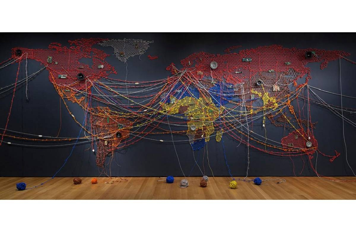 """Reena Saini Kallat's installation """"Woven Chronicle"""" is at Stanford University's Cantor Arts Center, which reopens to the public on April 21. (Photo courtesy Jonathan Muzikar/Museum of Modern Art/SCALA/Art Resource)"""