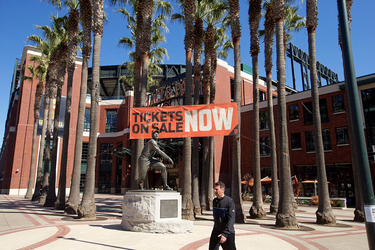 The San Francisco Giants are expecting to welcome some 8,000 fans at the 2021 home opener. (Kevin N. Hume/S.F. Examiner)