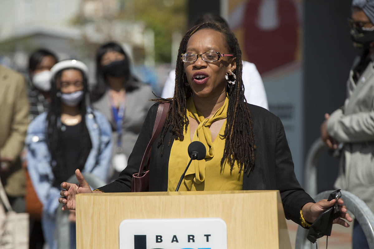 BART board director Lateefah Simon speaks at a news conference for BART's anti-sexual harassment Not One More Girl campaign at West Oakland BART station on Friday, April 2, 2021. (Kevin N. Hume/S.F. Examiner)