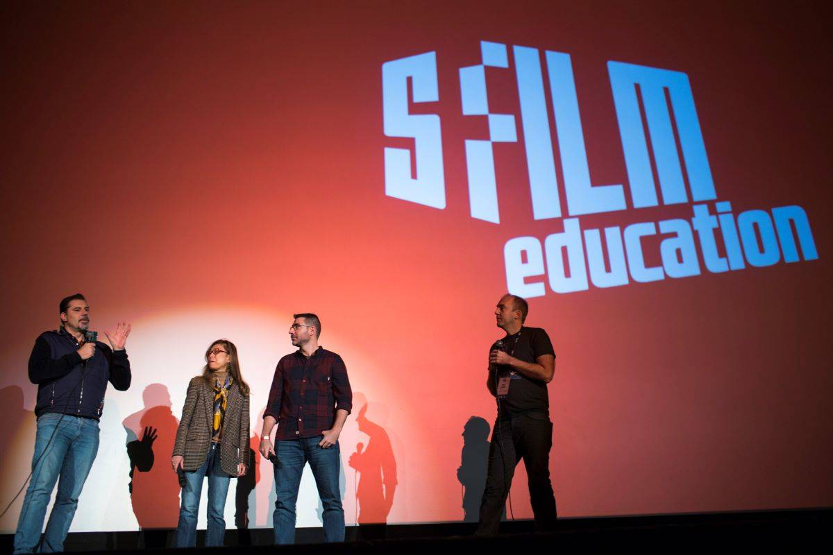 """Director Sergio Pablos, producer Jinko Gotoh, director Carlos Martínez López, and SFFILM Director of Education Keith Zwölfer appear at a screening of the animated film """"Klaus"""" at the Castro on Nov. 17, 2019. (Courtesy SFFILM)"""
