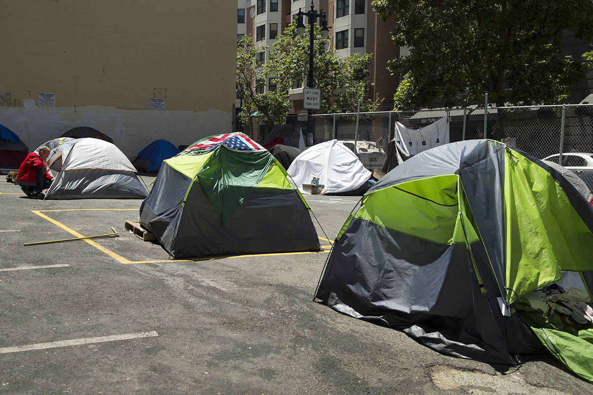 Legislation by Supervisor Rafael Mandelman would require The City to add enough new safe camping sites, such as this one at 180 Jones St. in the Tenderloin, to accomodate everyone living on the street. (Kevin N. Hume/S.F. Examiner)