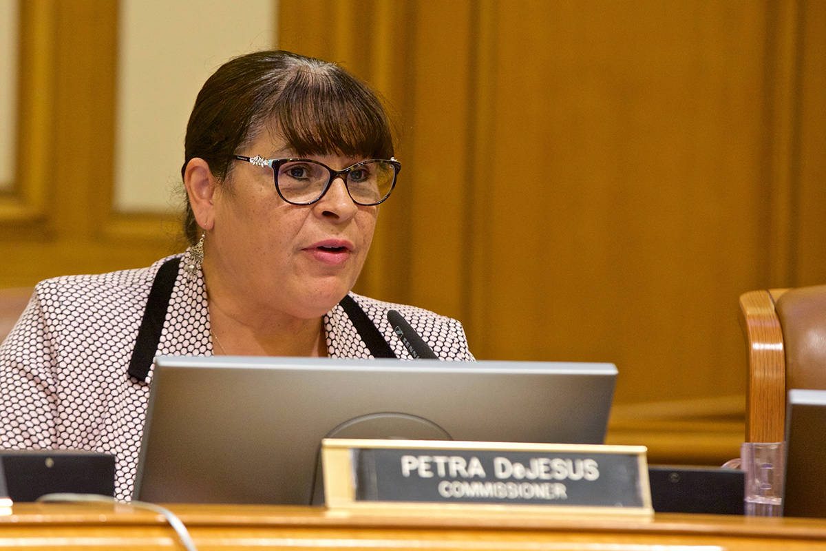 Commissioner Petra DeJesus speaks during a meeting of the San Francisco Police Commission at City Hall on Wednesday, Oct. 3, 2018. (Kevin N. Hume/S.F. Examiner)