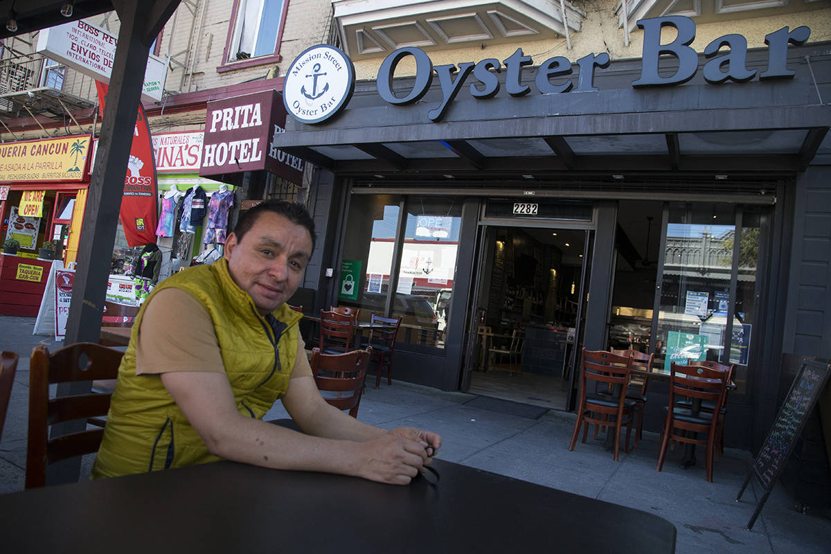Freddy Gamez, owner of Mission Street Oyster Bar, is not sure of the financial feasibility of keeping his restaurant's Shared Spaces platform. (Kevin N. Hume/S.F. Examiner)