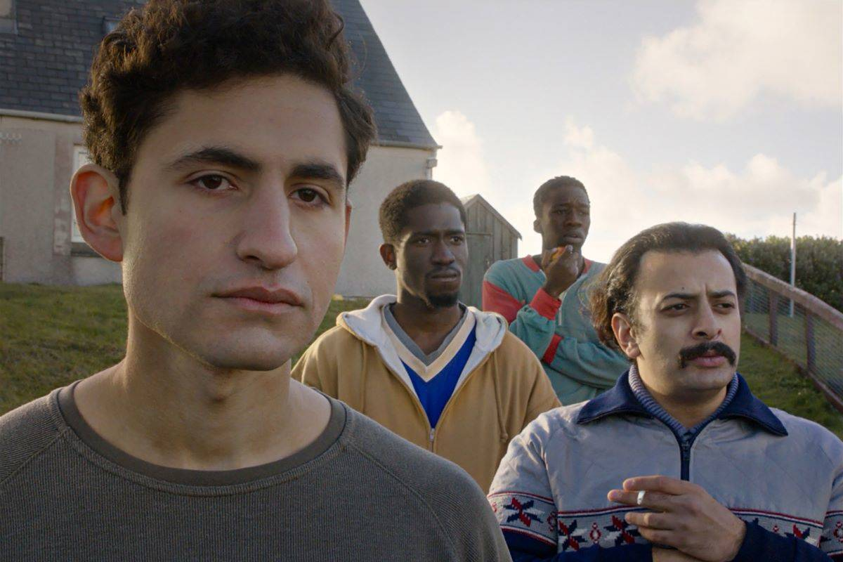"From left, Amir El-Masry, Ola Orebiyi, Kwabena Owuso-Ansah and Vikash Bhai appear in ""Limbo,"" directed by Ben Sharrock. (Courtesy Focus Features)"