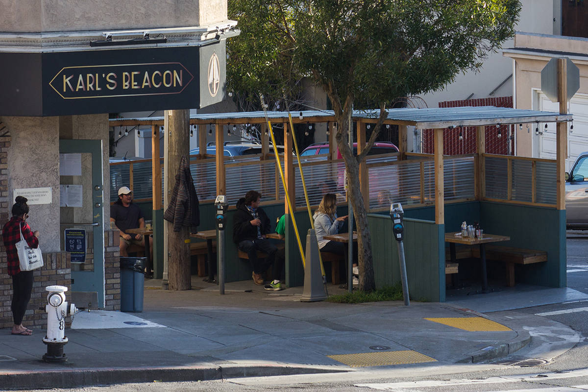 An expanded, permanent Shared Spaces program allowing businesses to open outdoor seating in public areas could help the economy, but cost The City millions in parking revenue and other expenses. <ins>(Jordi Molina/ Special to S.F. Examiner)</ins>
