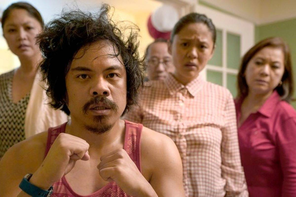 """From left, Esperanza Catubig, Patrick Epino, Jonathan Enerva, Theresa Navarro and Josephine de Jesus appear in """"Bitter Melon,"""" which is about a dysfunctional Filipino American family. (Courtesy Susie Heyden)"""