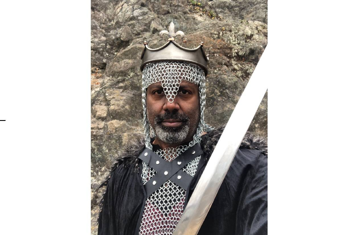 """Fred Pitts portrays Stephen of Blois in Exit Theatre's online production of """"The Arms and Armament of Stephen of Blois.""""<ins> (Courtesy Fred Pitts)</ins>"""