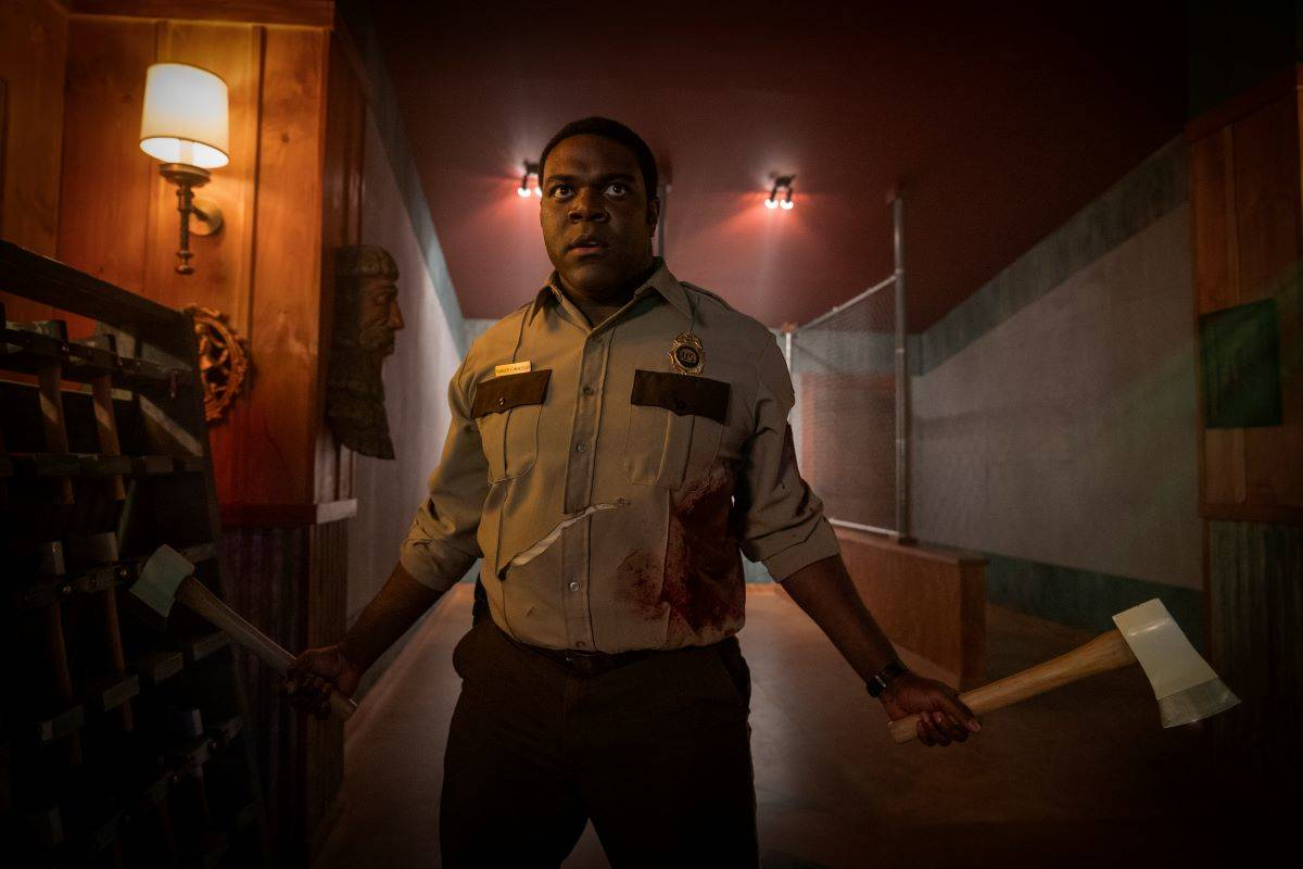 """Sam Richardson is terrific as an appealingly decent ranger in the horror-thriller-comedy """"Werewolves Within."""" (Courtesy Sabrina Lantos/IFC)"""