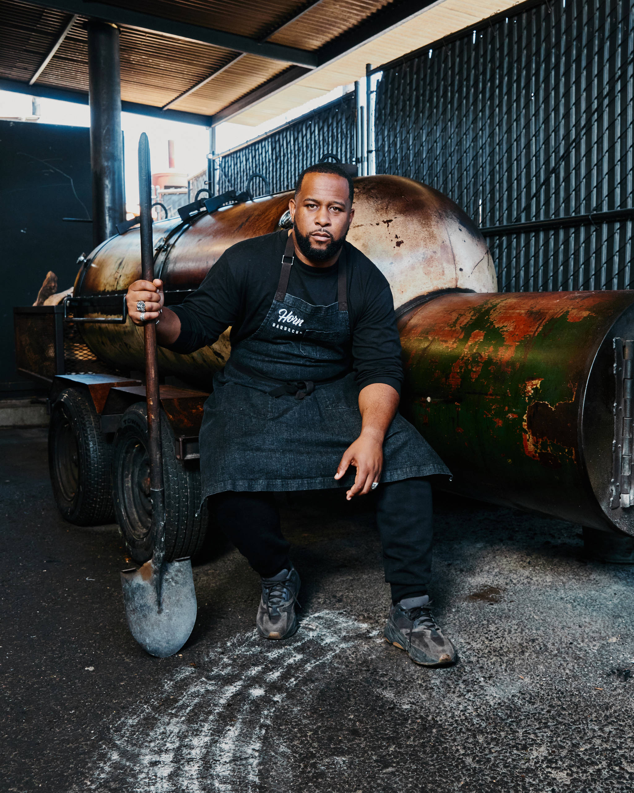 Matt Horn, owner of Horn Barbecue in Oakland, learned how to smoke meat in his grandmother's backyard.<ins> (Adam Amengual/New York Times)</ins>