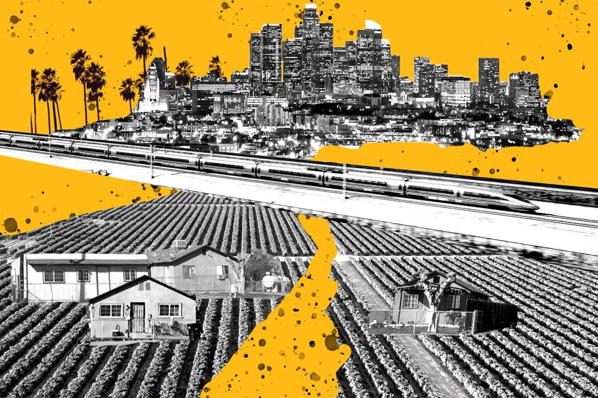 Gov. Gavin Newsom wants $4.2 billion to finish the Central Valley link for the bullet train, but legislators aren't sold. (Illustration by Anne Wernikoff/CalMatters; images courtesy iStock, California High Speed Rail Authority, Shae Hammond/CalMatters)