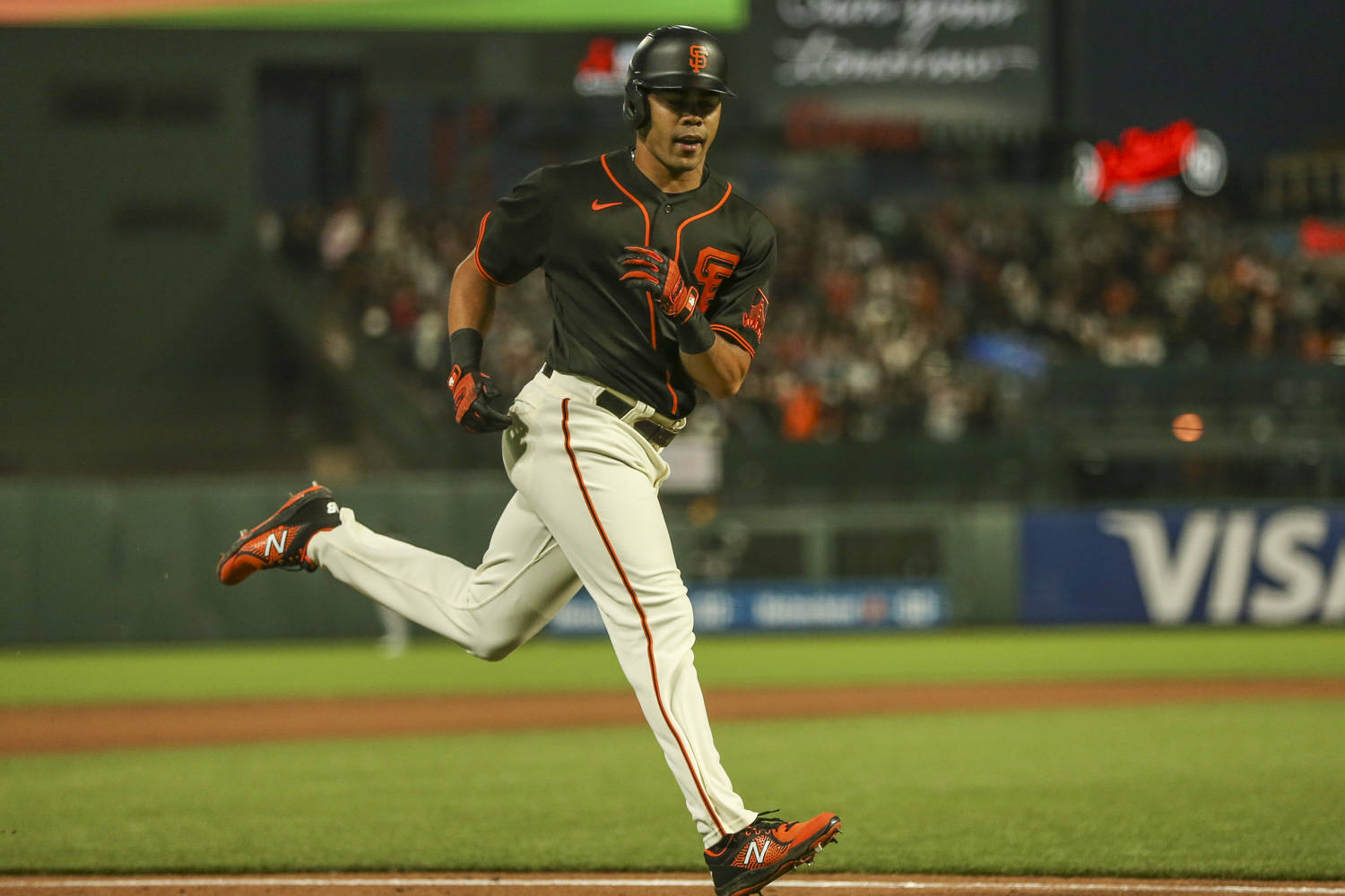 Giants first baseman LaMonte Wade Jr. homered in a game against the A's at Oracle Park on June 26, 2021. (Christopher Victorio/Special to The Examiner)