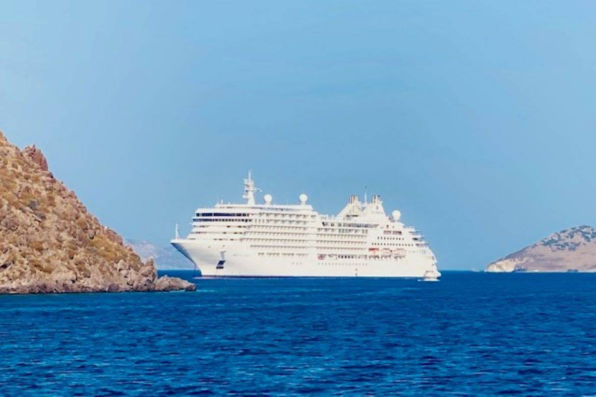 <strong></strong>Silversea's newest ship, the 596-passenger Silver Moon, is anchored near the Greek island of Patmos. <ins>(Courtesy Julie L. Kessler)</ins>