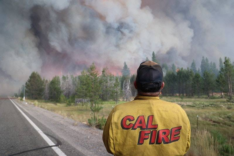 The monstrous Dixie Fire has become the largest wildfire in California history. It's been burning for more than a month. (Photo courtesy of Cal Fire via Callaway Climate Insights)