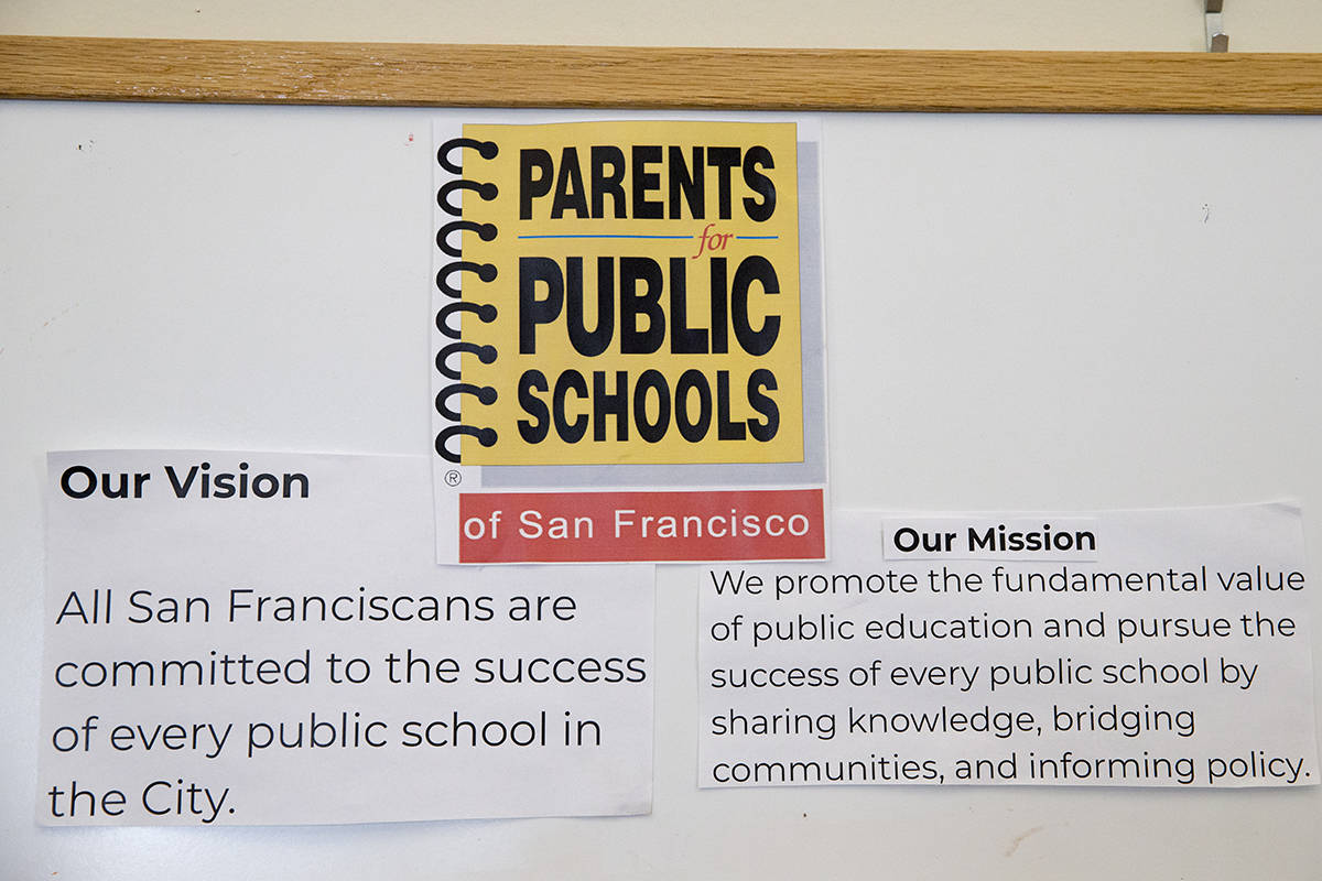 The vision and mission statements for Public Schools San Francisco at the PPS-SF offices in the Mission District on Friday, Aug. 27, 2021. (Kevin N. Hume/The Examiner)