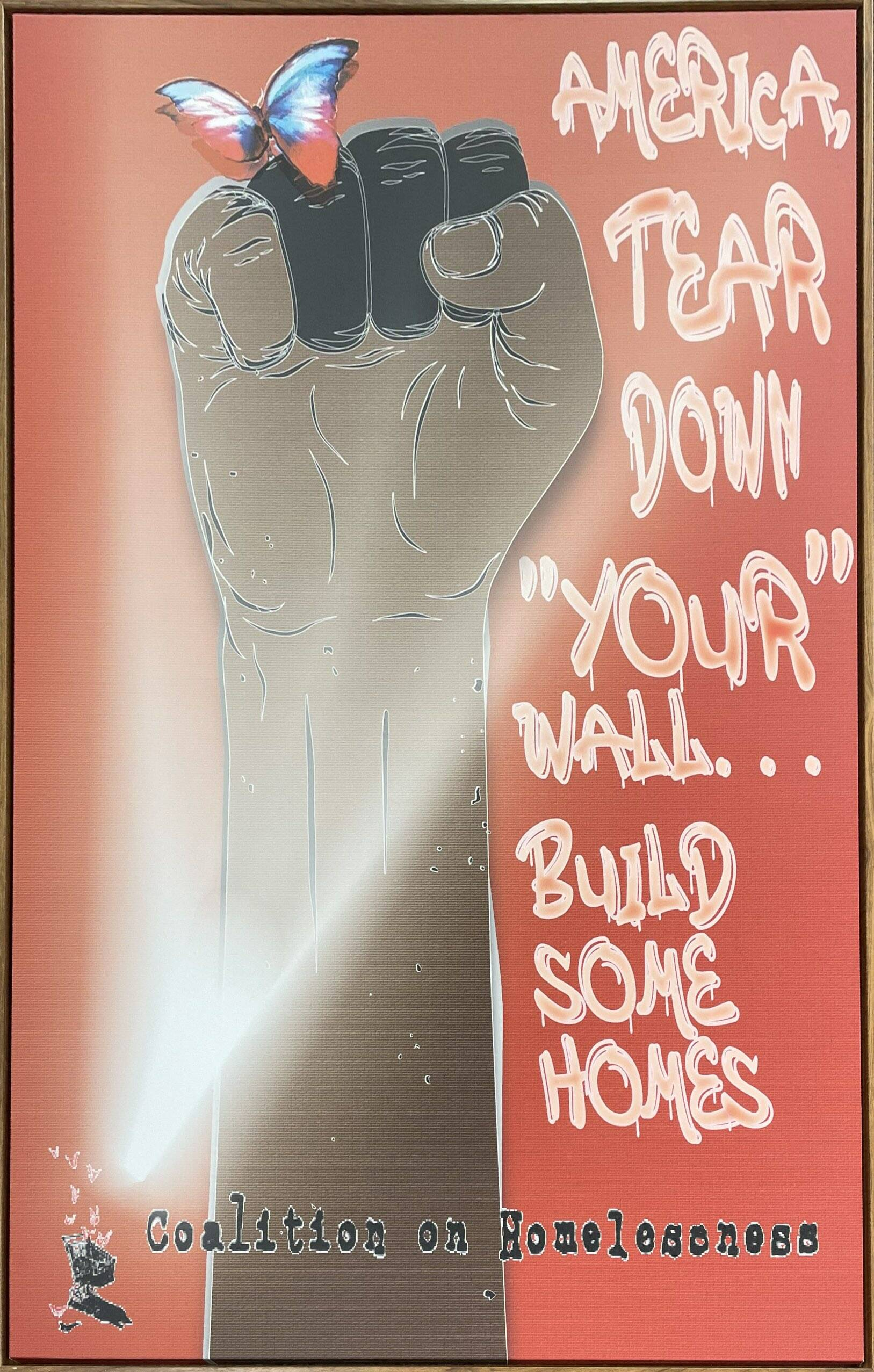 """Ramsey Dunlap's artwork, """"America, Tear Down 'Your' Wall,"""" is up for auction starting Sept. 9. (Courtesy SF Coalition on Homelessness)"""