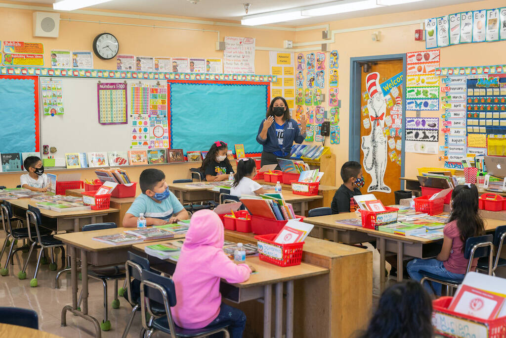 Students at Normont Elementary School in Los Angeles went back to class on Aug. 16; since then parents, teachers and administrators are in conflict about safety measures being taken to prevent the spread of COVID.(Allison Zaucha/New York Times)