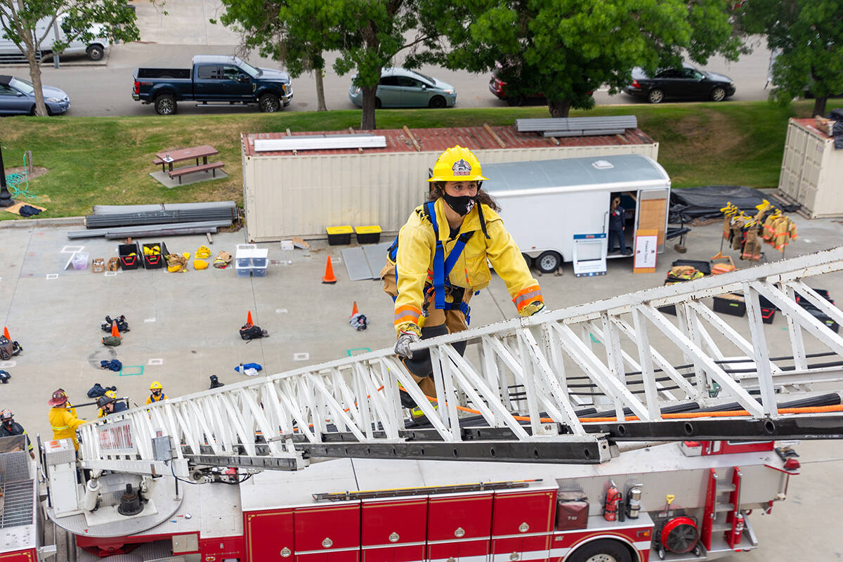 High-schoolers attending First Alarm camp at the Livermore-Pleasanton Fire Department facility in Pleasanton participate in firefighting training exercises. <ins>(Photo by Sean St. Cin/Courtesy NorCal Women In The Fire Service)</ins>